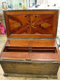 Antique Victorian Carpenters / Cabinet Makers Tool Chest. Fabulous Inlay