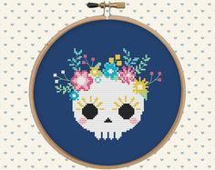Skull cross stitch pattern pdf  sugar skull  halloween cross