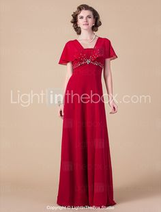 Sheath/Column Square Floor-length Chiffon Mother of the Bride Dress - USD $ 178.19