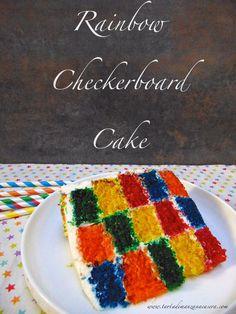 Tarta arcoiris damero-Rainbow Checkerboard Cake
