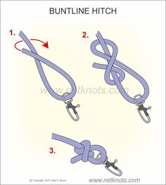 Buntline Hitch - How to tie a Buntline Hitch Buntline Hitch Paracord Knots, Rope Knots, Macrame Knots, Fishing Hook Knots, Fishing Lures, Fishing Tips, Fly Fishing, Women Fishing, Walleye Fishing
