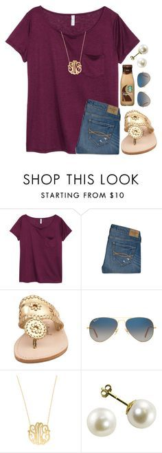 """""""{got this shirt yesterday}"""" by preppy-southern-girl-1-2-3 ❤ liked on Polyvore featuring H&M, Abercrombie & Fitch, Jack Rogers, Ray-Ban and Moon and Lola"""