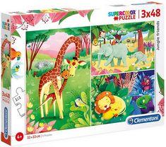Puzzles 3x48 pièces de dimensions 32 x 22 cm. La collection SuperColor, dédiée aux enfants, propose de nombreux puzzles à l'image des héros préférés des enfants. La variété des images colorées et les différents nombres de pièces permettent à chacun de s'amuser et de développer ses capacités de logique et d'observation. Clementoni Puzzle, Puzzles, The Avengers, My Little Pony, Mickey Mouse, Dinosaur Stuffed Animal, Moose Art, Toys, Dimensions