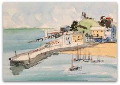Seascape painting ORIGINAL Miniature Watercolour by StudioHydeArt #original #watercolour #painting #seascape #harbour #tenby View here: https://www.etsy.com/uk/listing/510606167/seascape-painting-original-miniature?ref=shop_home_active_2