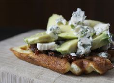 Avocado Gorgonzola and Bacon Jam Toasted Waffle Sandwich- I MUST try this but with sweet onion jam instead. Can you say brunch?