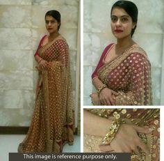 Kajol+Net+Beige+Bollywood+Designer+Saree+-+T1337 at Rs 2695