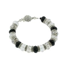 Black, Silver & Clear Crystal Bracelet