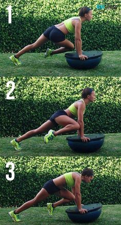 Exercise of the day: stability plank with Bosu 10+10+10. 10 Cross knee & elbow  10 right knee-to elbow 10 inverted crunch