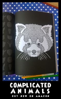 Red Panda - Image from Complicated Animals - A Mixed Menagerie Colouring Book - Illustrated by Antony Briggs - UK link: http://amzn.to/2aeY18T USA link: http://amzn.to/2aeXS5B