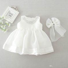 Baby Girl Dress Christening Baptism Gowns Sequined Formal Dress White – Christen My Day