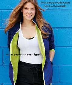 Hit the road in style with this water-resistant activity jacket. $39.99 https://www.avon.com/product/stop-the-chill-jacket-54955?rep=dgari #jacket #waterresistant #avon #clothing