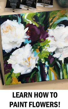 Learn the easy way to paint abstract flowers with acrylic paint on canvas with artist Elle Byers. Easy flower painting tutorials with step by step instructions for beginners. Acrylic Painting For Beginners, Simple Acrylic Paintings, Acrylic Painting Tutorials, Beginner Painting, Art Paintings, Floral Paintings, Portrait Paintings, Indian Paintings, Abstract Paintings