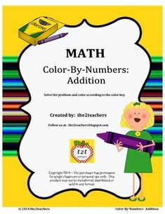 In Color-By-Numbers Addition by the2teachers you will receive 21 pages of practice in solving addition computation. Students color the picture according to the color code for each sum. Each page focuses on a specific addition skill: single digit doubles, plus zero, plus one, plus two, plus three, plus four, plus five, plus six, plus seven, plus eight, plus nine, plus ten, doubles plus one, two digit without regrouping and two digit with regrouping.