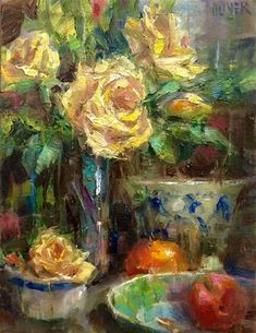 """Daily Paintworks - """"Yellow Roses"""