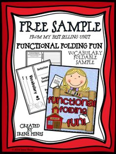 FREE SAMPLE from my best selling unit Functional Folding Fun! Flip-Flap Books And Elementary Lapbooks! Vocabulary Foldable.
