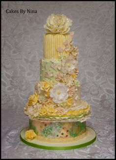 Citrus Passion Wedding Cake, with handmade sugar flowers, hearts and ruffles. a lovely crisp, fresh, romantic cake Beautiful Wedding Cakes, Beautiful Cakes, Amazing Cakes, Unique Cakes, Elegant Cakes, Crazy Cakes, Fancy Cakes, Lemon Wedding Cakes, Wedding Anniversary Cakes