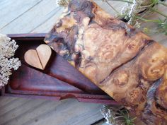 Beautiful Hand Tooled Box of Maple and Redwood Burl - pinned by pin4etsy.com