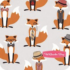 Fox and the Houndstooth Grey Dapper Foxes Yardage SKU# - Fat Quarter Shop Tent Fabric, Fat Quarter Shop, Houndstooth, Dapper, Craft Supplies, Illustration Art, Foxes, Textiles, Kids Rugs