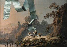 Attribué à Jean Pillement LYON 1728 - 1808 TROMPE L'OEIL AU RUBAN TURQUOISE DEVANT UN PAYSAGE DE LA CAMPAGNE PORTUGUAISE ATTRIBUTED TO JEAN PILLEMENT ; TROMPE L'OEIL WITH TURQUOISE RIBBON BEFORE PORTUGUESE LANDSCAPE ; OIL ON ORIGINAL CANVAS