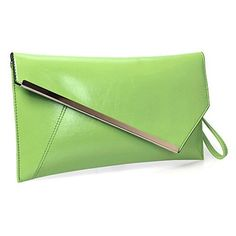 New Trending Clutch Bags: BMC Fashionably Chic Lime Green Faux Leather Gold Metal Accent Envelope Style Statement Clutch. BMC Fashionably Chic Lime Green Faux Leather Gold Metal Accent Envelope Style Statement Clutch   Special Offer: $15.99      155 Reviews Stylish lime green large faux leather fashion clutch with gold metal accents. Great for any occasion! Comes with a detachable shoulder strap with a max...