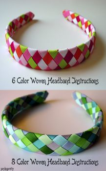 INSTRUCTIONS - Woven Headbands - 6 and 8 colors, weave, ribbon