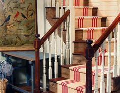 Red & natural striped stair runner by Colony Rug Company -- Photography by James K.
