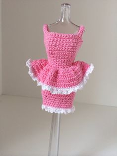 Barbie Clothes Pink Peplum Doll Dress by tonebelle on Etsy, $6.00