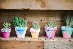 Colorful floral pots with cacti Wedding Chairs, Wedding Reception Decorations, Rustic Bohemian Wedding, Colorful Wedding Invitations, Pop Up Invitation, Spring Wedding Colors, Summer Wedding, Painted Flower Pots, Diy Wedding