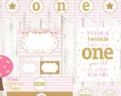 Pink and Gold First Birthday Party Package First Birthday