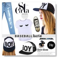 """Top Hat: Baseball Cap Style"" by sarah-crotty ❤ liked on Polyvore featuring Bebe, BOY London, Chicnova Fashion, Converse, converse, jeans, Tshirt, baseballcap and baseballhats"