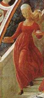 Women's Clothing in Quattrocentro Florence. Paolo Uccello, Birth of the Virgin, Detail, 1435. Florentine school.