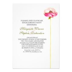 engagement party pink flower invitations