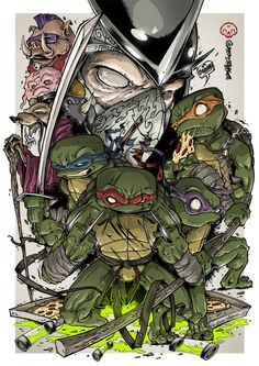 SPLINTER'S CLAN By Clog Two Ninja Turtles Shredder, Ninja Turtles Art, Teenage Mutant Ninja Turtles, Tmnt, Comic Books Art, Comic Art, Graffiti, Marvel, Sketches