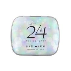 Elegant 24th Opal Wedding Anniversary Celebration Candy Tins - elegant gifts gift ideas custom presents