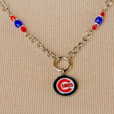 Chicago Cubs Baseball Pendant Necklace, Blue Czech Glass Beads , Red Czech Glass Beads, Silver Plated Spacer Beads by SuzetteGaleJewelry on Etsy