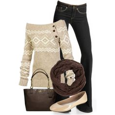 Neutral winter sweater and jeans.