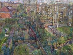 RA Summer Exhibition 2015 work 217 : HOLLOWAY BACK GARDENS WITH SELF PORTRAIT by Melissa Scott-Miller, £8000.