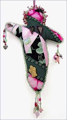 Full Recovery Companion, healing spirit doll made for a friend with breast cancer, by Robin Atkins, bead artist