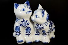 Baum  Bros White Cats blue Floral Ceramic Porcelain Figurine