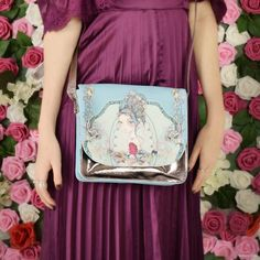 Marina, a kedvenc Mirabelle. My favourite Mirabelle lady is Marina. Santoro London, Red Roses, Purple, Blue, Floral Gown, Shoulder Bag, Tote Bag, Violets, My Favorite Things