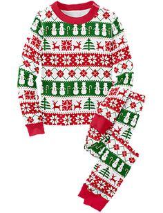 Chevron Christmas Tree Pajamas, Girls Christmas Pajamas, Christmas ...