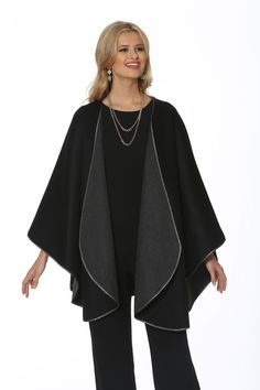 This stunning cashmere cape is two gorgeous capes in one! Wear it on the grey side to enjoy the novelty of wearing a beautiful cashmere cape in soft, flowing sh. Mink Jacket, Vest Jacket, Winter Poncho, Cashmere Cape, Coats For Women, Clothes For Women, Poncho Coat, Shawls And Wraps, Kimono Top