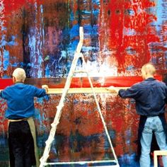 Gerhard Richter and assistant  Photo - thanks to Pascal Blanchard
