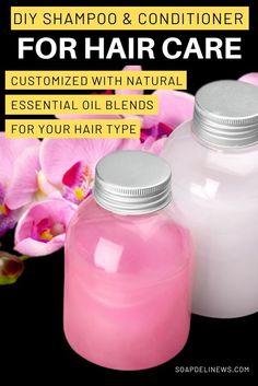 Homemade Shampoo And Conditioner, Homemade Shampoo Recipes, Homemade Products, Natural Shampoo Recipes, Diy Hair Conditioner Daily, How To Make Conditioner, Homemade Facials, Shampoo Bar, Homemade Essential Oils