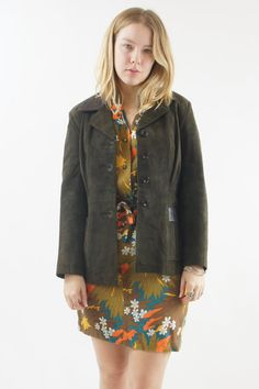 Suede Leather Jacket / Button Up Green Blazer Jacket by HillPeople