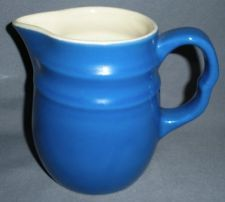 BLUE WHITE STONEWARE CREAMER PITCHER MADE IN USA OXFORD WARE VINTAGE POTTERY/ i have :-)  plus a bowl!!!