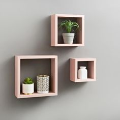 New Stunning Easy To Install Lokken 3 Cube Shelves In A Pretty Blush Colour Wood Shelves, Display Shelves, Shelving, Floating Cube Shelves, Regal Bad, Wall Cubes, Plastic Shelves, Bedroom Decor, Wall Decor