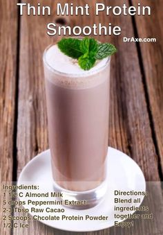 Thin Mint Protein Smoothie by Dr. Josh Axe