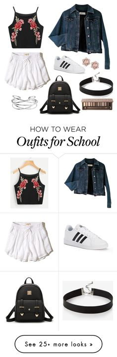 """Daily Outfit"" by candela-alvarado on Polyvore featuring Hollister Co., Moschino, adidas, Express and Urban Decay"