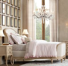 The perfect retreat for a cozy night's sleep, our Belle Collection is an exacting replica of a French antique bed. The gently rounded and wrapped headboard and footboard are upholstered in stain-resistant oatmeal washed linen.
